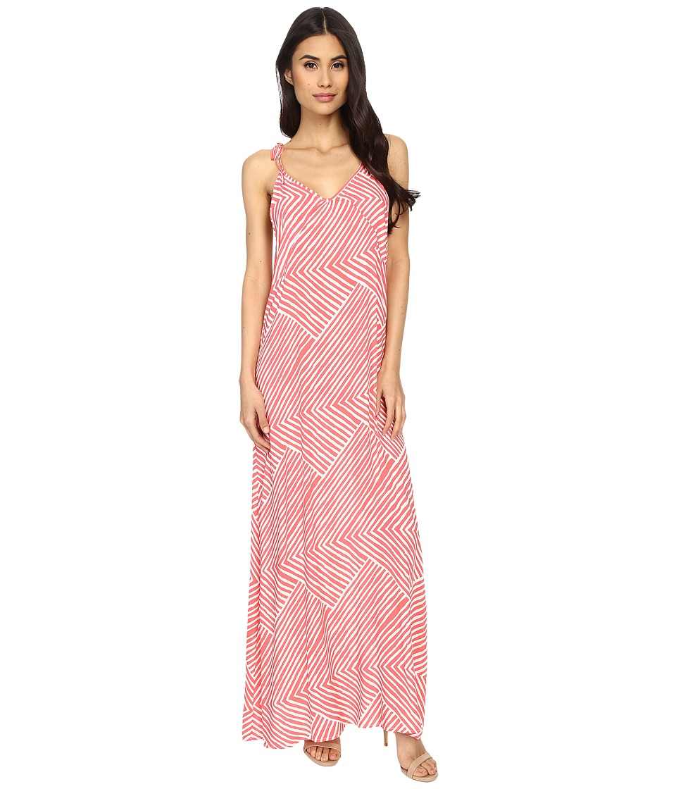 Echo Design - Paradise Weave Carol Maxi Top (Bright Coral) Women's Dress