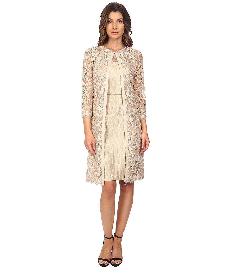 Adrianna Papell - Lace Yoke Shimmer Sheath Jacket (Champagne) Women's Dress