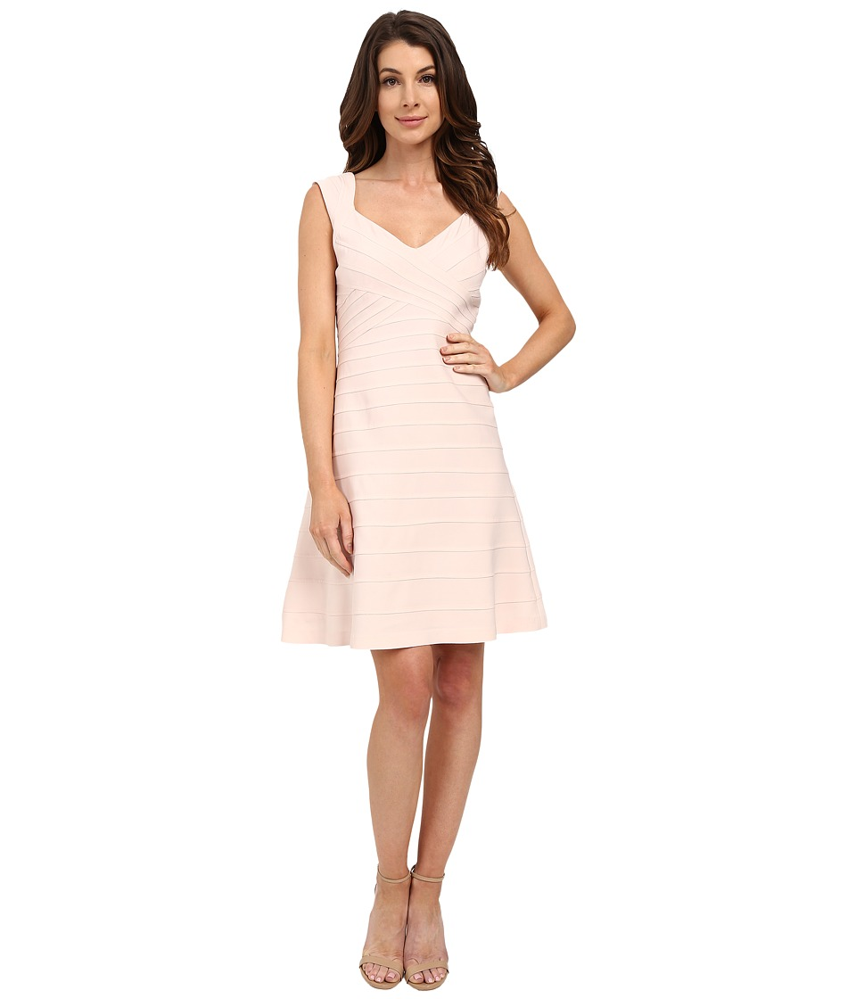 Adrianna Papell Crossover Band Fit Flare Dress (Pink Sand) Women