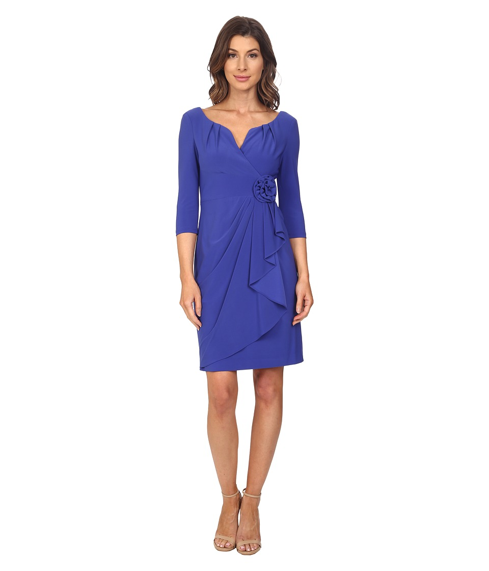 Adrianna Papell - Rosette Draped Cascade Dress (Indigo Blue) Women's Dress
