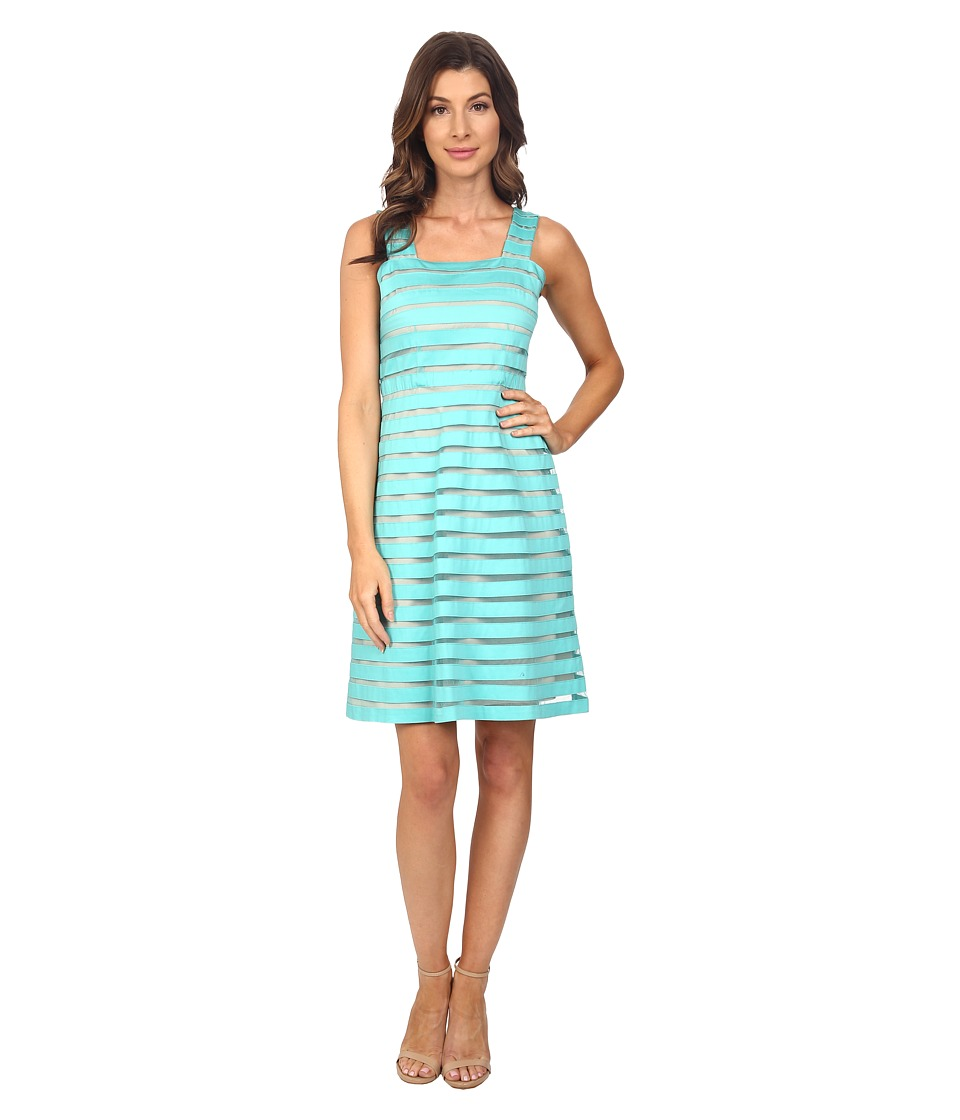 Adrianna Papell - Illusion Banded Fit Flare Dress (Aquamarine/Bisque) Women's Dress