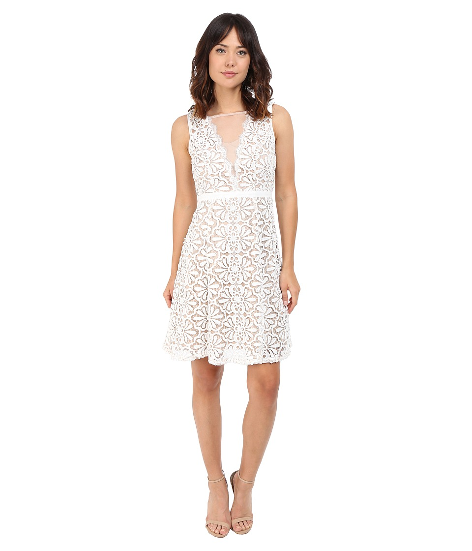 Adrianna Papell - V Inset Fit Flare Lace Dress (Ivory/Bisque) Women's Dress