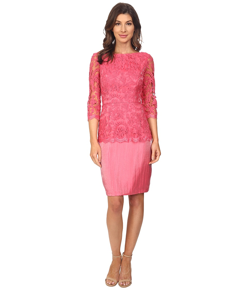 Adrianna Papell Floral Embroidery Peplum Dress (French Coral) Women