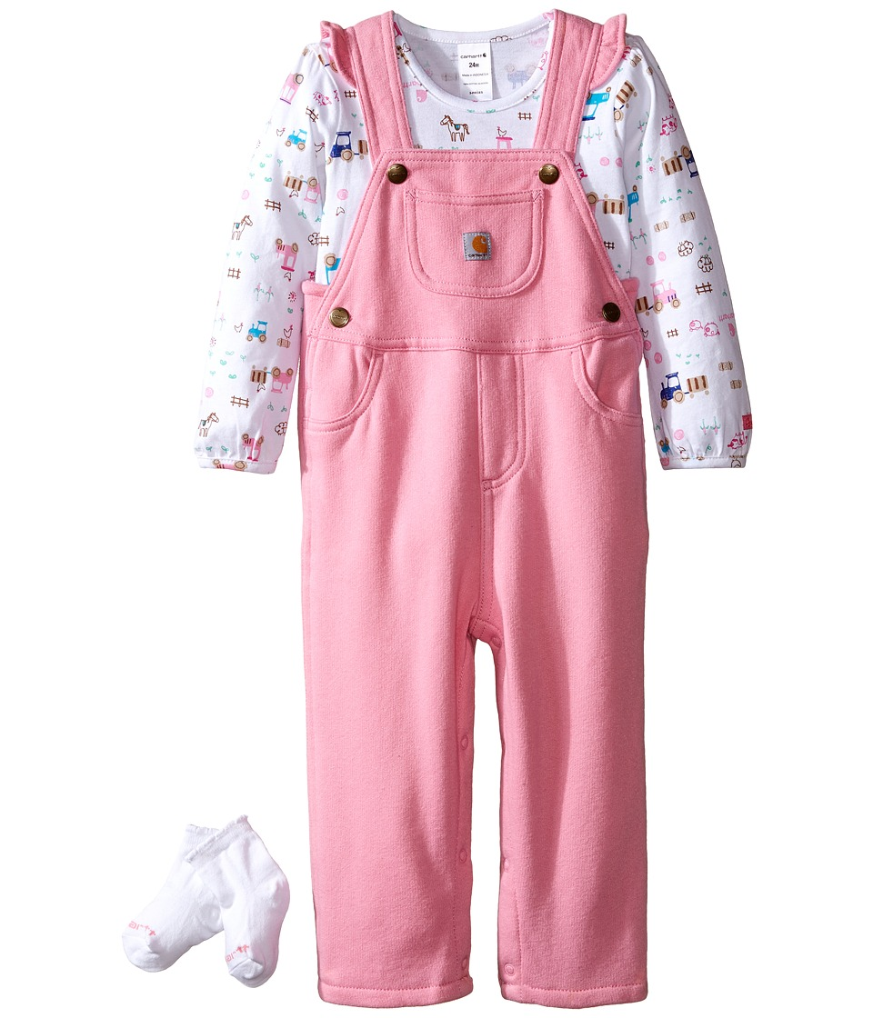 Carhartt Kids - Little Farmer Three-Piece Gift Set (Infant) (Rose Bloom) Girl's Active Sets