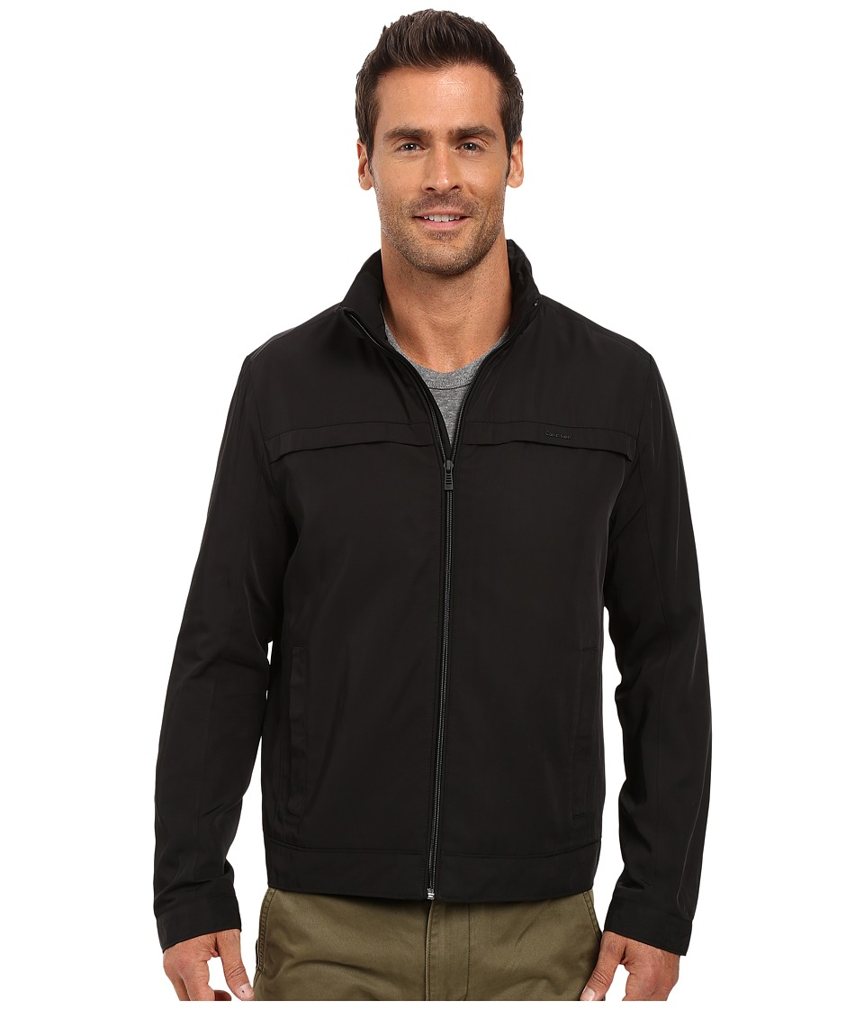 Calvin Klein - Poly Twill Jacket w/ Hidden Hood (Black) Men's Coat