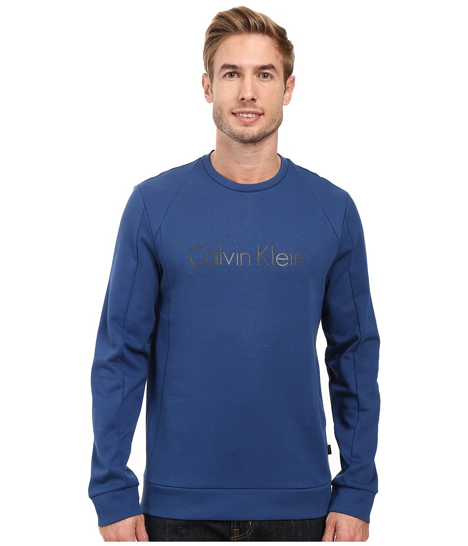 Calvin Klein - Long Sleeve Ponte Solid Zip Mix Media Shirt (Blue Rush) Men's Long Sleeve Pullover