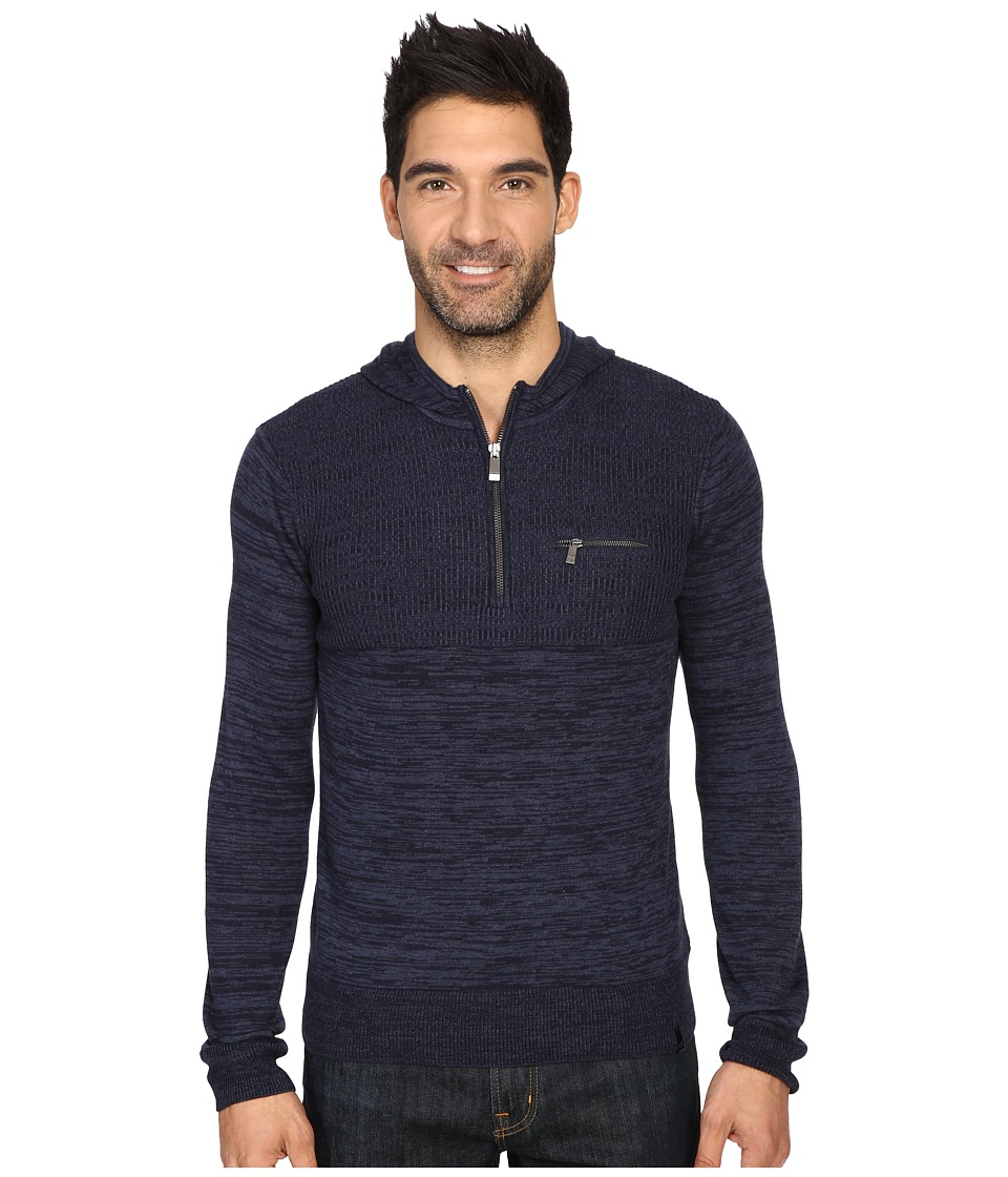 Calvin Klein - Cotton Modal Parallel Rib Sweater (Cadet Navy Combo) Men's Sweater