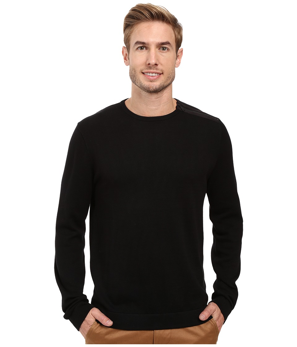 Calvin Klein - Cotton Acrylic Faux Suede Zip Sweater (Black Combo) Men's Sweater