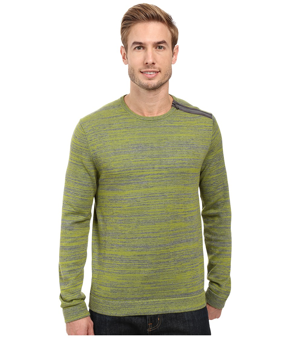 Calvin Klein - Cotton Acrylic Faux Suede Zip Sweater (Bitter Lime Combo) Men's Sweater