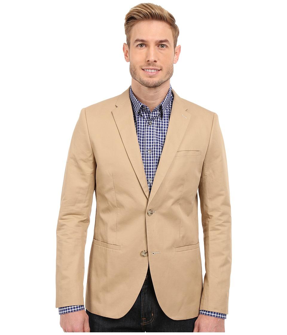 Perry Ellis - Solid Slub Linen Cotton Suit Jacket (Pale Khaki) Men's Jacket