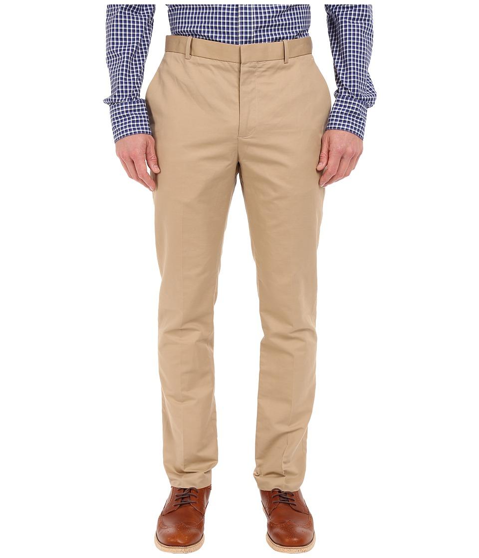 Perry Ellis - Solid Slub Linen Cotton Flat Front Pants (Pale Khaki) Men's Casual Pants