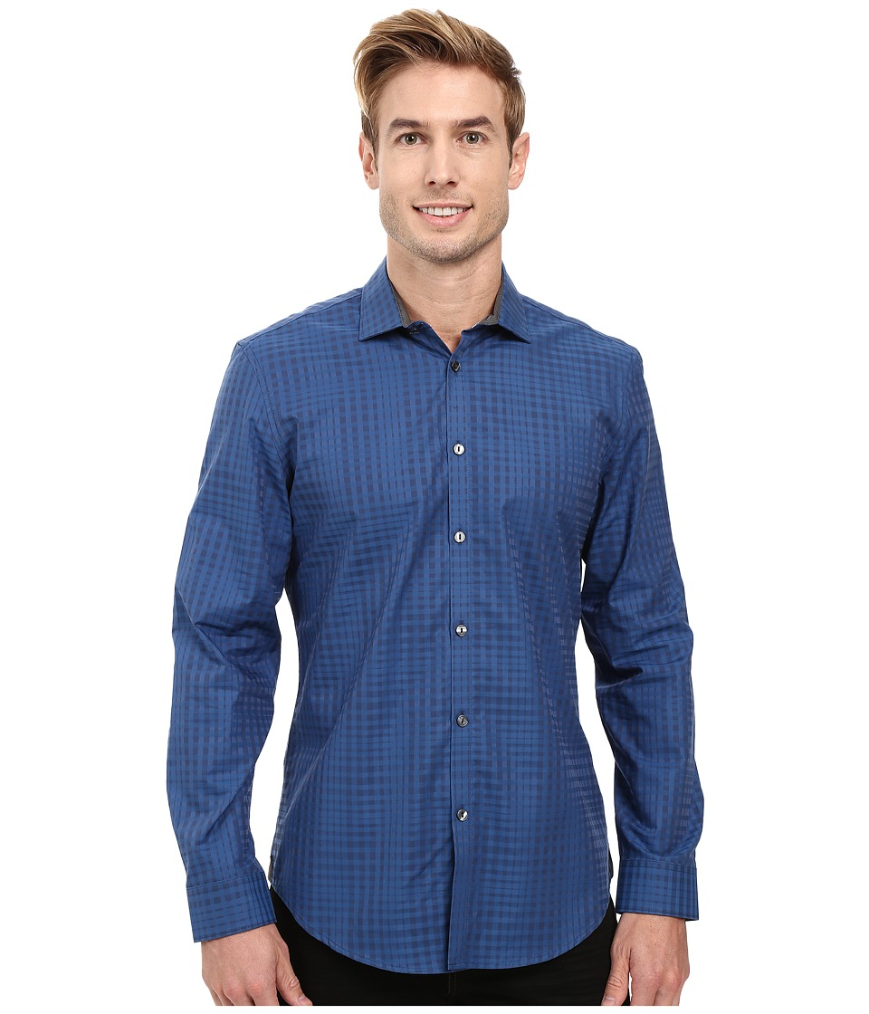 Calvin Klein - Long Sleeve Shadow Plaid Shirt (Dress Blues) Men's Long Sleeve Button Up