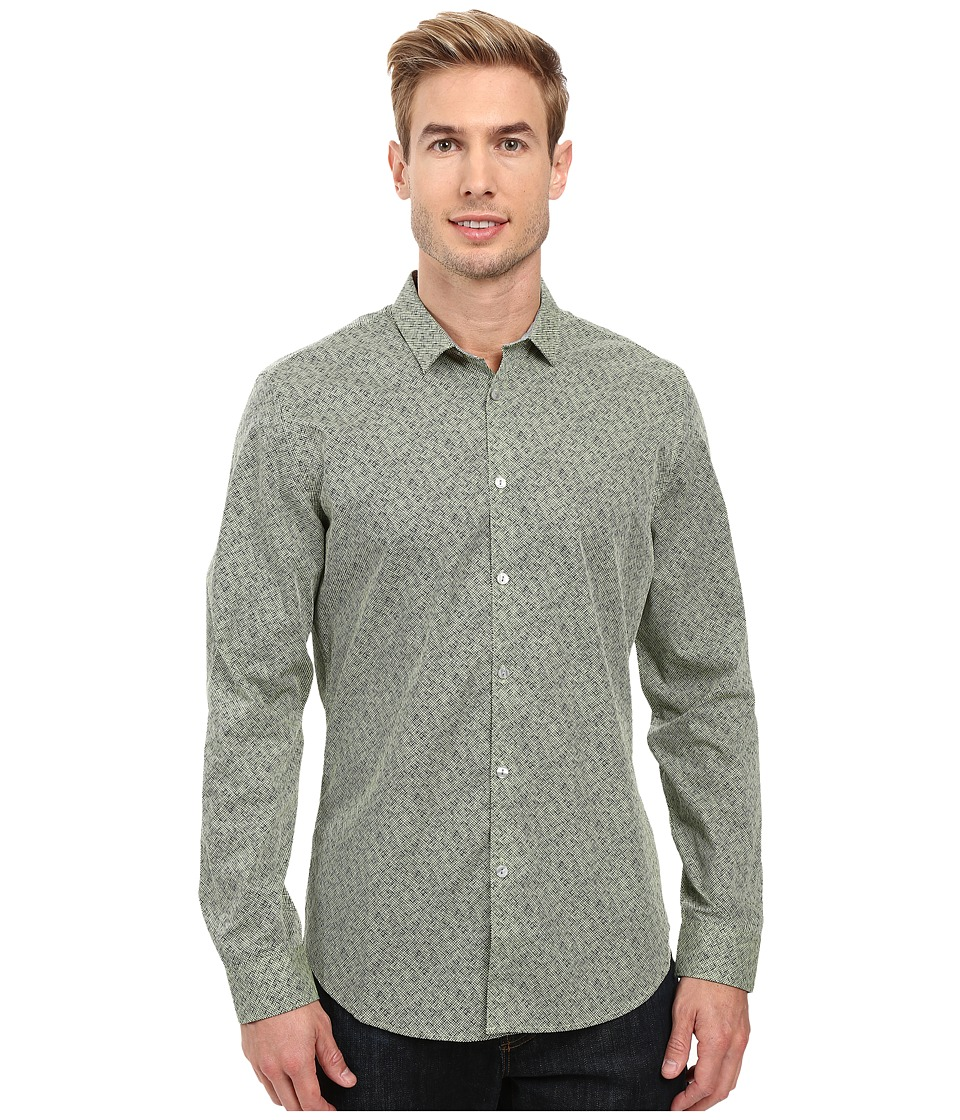 Calvin Klein - Long Sleeve Crosshatch Print Shirt (Durian Green) Men's Long Sleeve Button Up