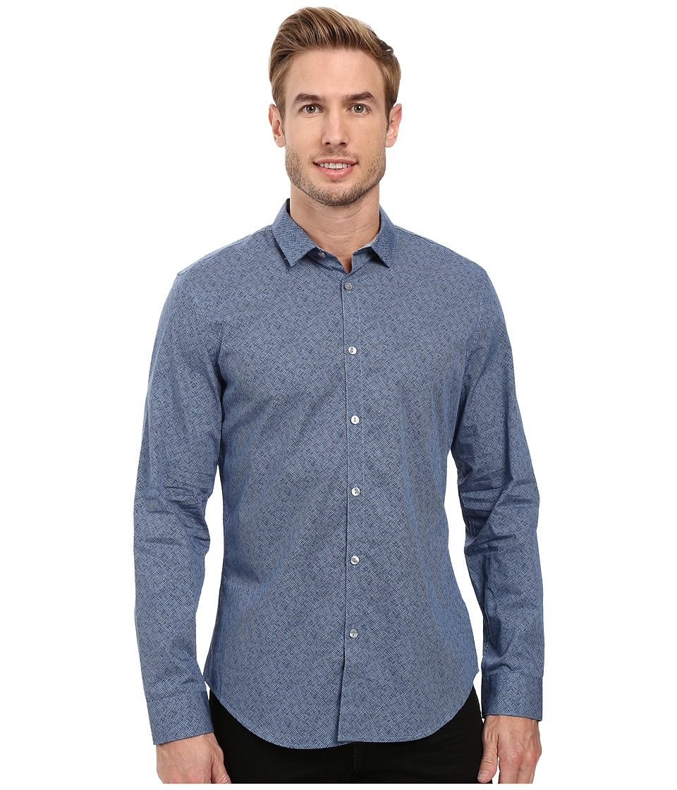 Calvin Klein - Long Sleeve Crosshatch Print Shirt (Delft) Men's Long Sleeve Button Up