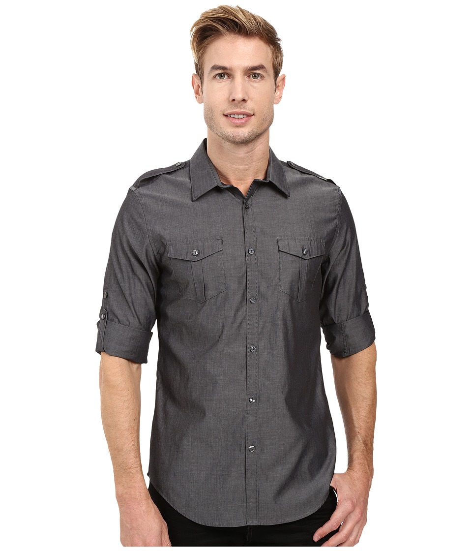 Calvin Klein - Long Sleeve Roll Tab Chambray Shirt (Castle Rock) Men's Long Sleeve Button Up
