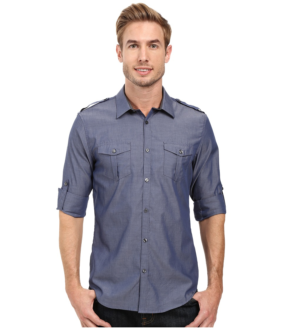 Calvin Klein - Long Sleeve Roll Tab Chambray Shirt (Dress Blues) Men's Long Sleeve Button Up
