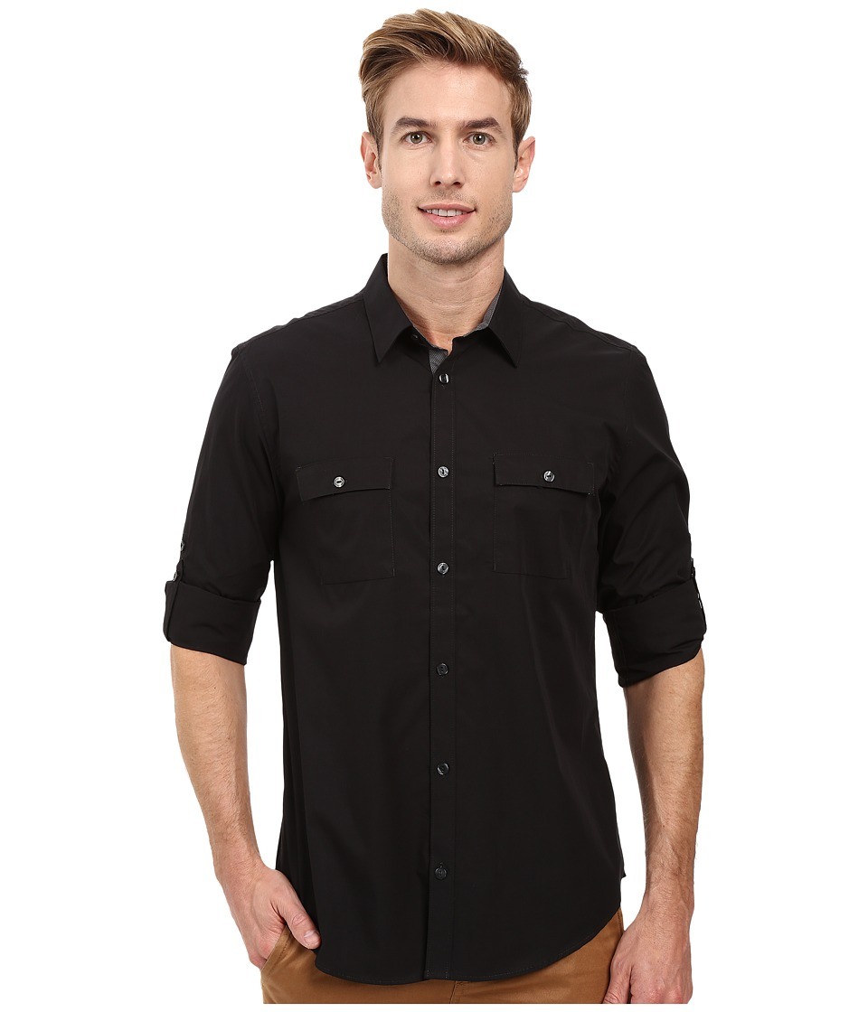 Calvin Klein - Long Sleeve Solid Poplin Shirt (Black) Men's Long Sleeve Button Up