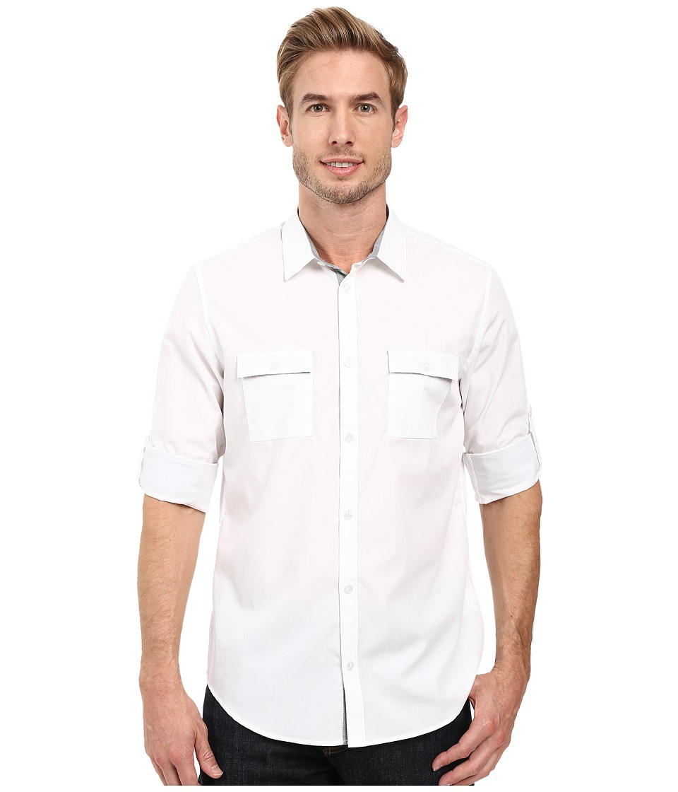 Calvin Klein - Long Sleeve Solid Poplin Shirt (White) Men's Long Sleeve Button Up