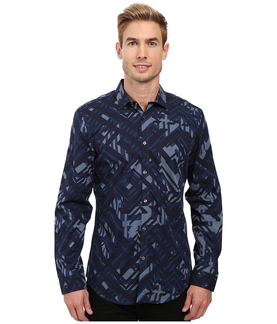 Calvin Klein - Long Sleeve Geometric Camo Print Shirt (Dress Blues) Men's Long Sleeve Button Up
