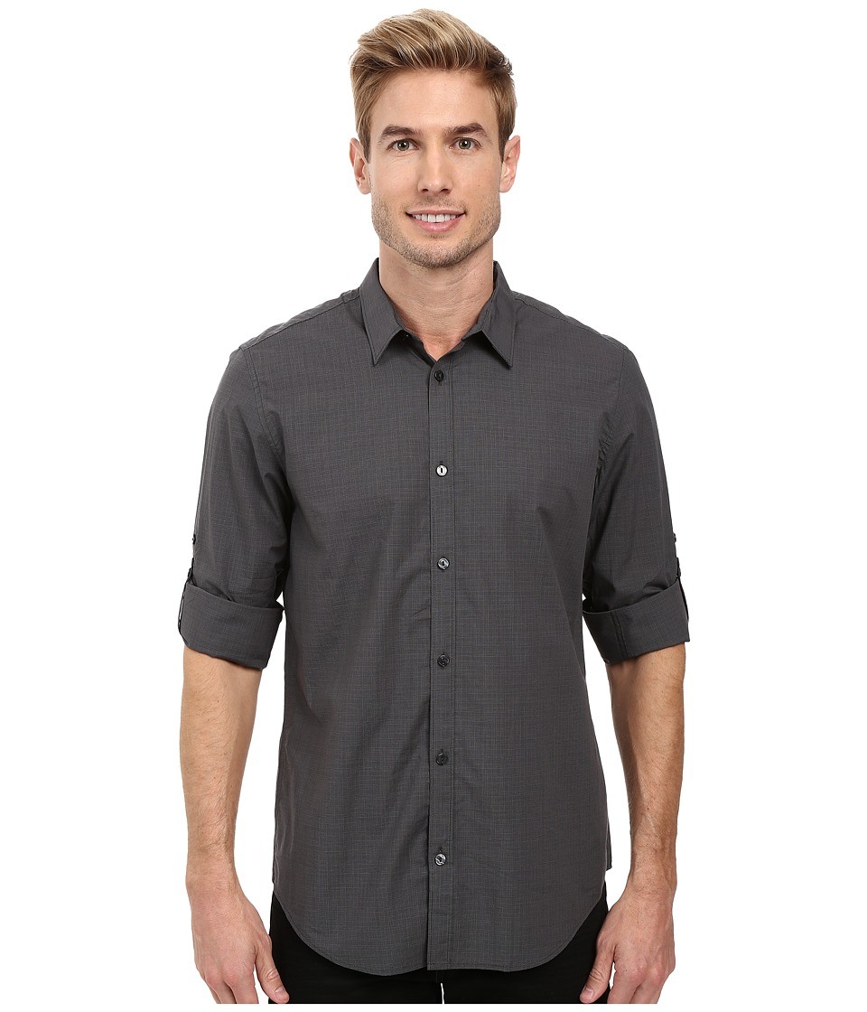 Calvin Klein - Long Sleeve Mini Glenn Plaid Shirt (Black) Men's Long Sleeve Button Up