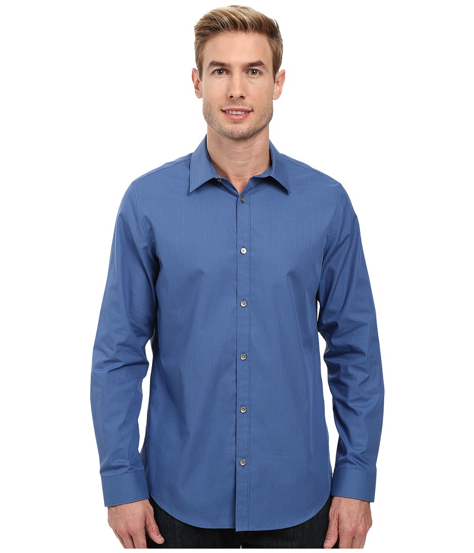 Calvin Klein - Long Sleeve Infinite Cool Y/D Stripe Poplin Shirt (Delft) Men's Long Sleeve Button Up