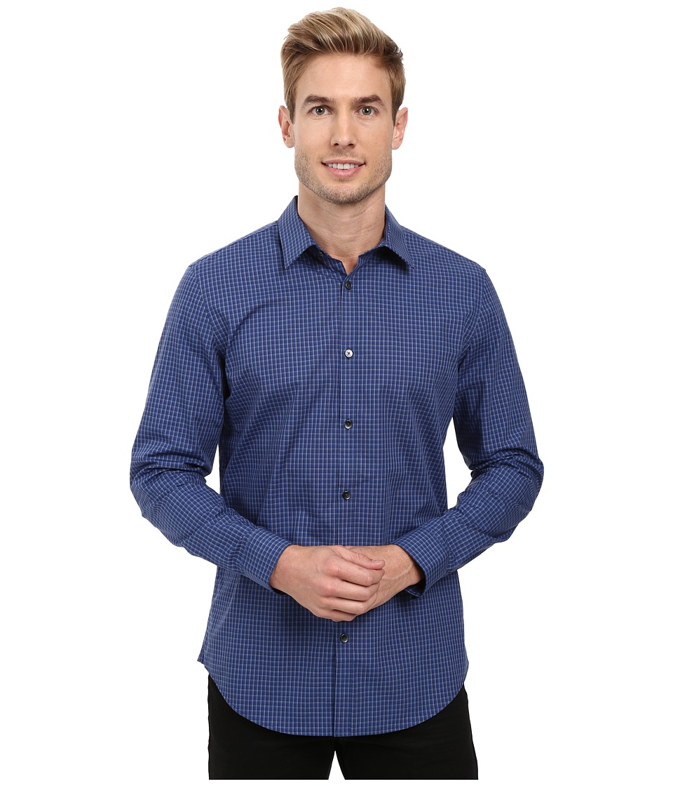 Calvin Klein - Long Sleeve Infinite Cool Non-Iron Y/D End on End Shirt (Blue Rush) Men's Long Sleeve Button Up