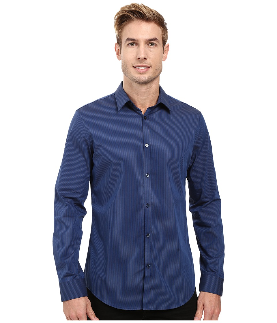 Calvin Klein - Long Sleeve Infinite Cool End on End Shirt (Royal Navy) Men's Long Sleeve Button Up