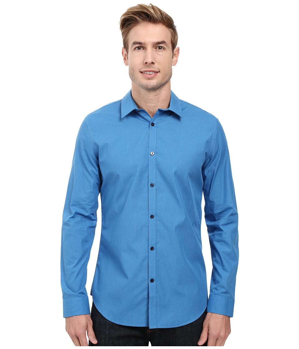 Calvin Klein - Long Sleeve Infinite Cool End on End Shirt (Nephthys Blue) Men's Long Sleeve Button Up