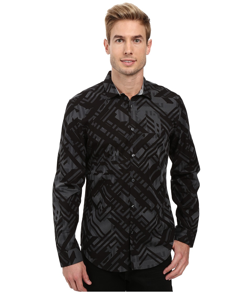 Calvin Klein - Long Sleeve Geometric Camo Print Shirt (Tornado) Men's Long Sleeve Button Up
