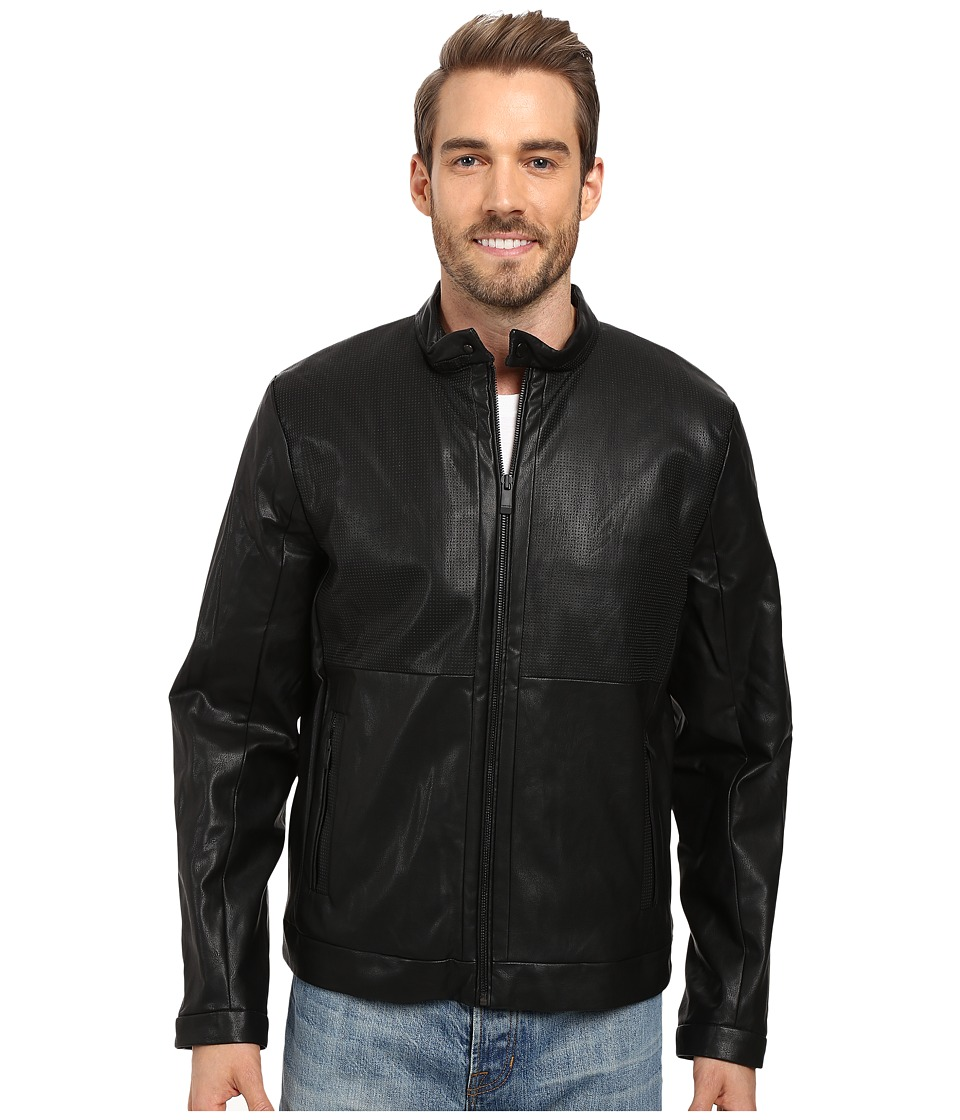 Calvin Klein - Faux Leather Perforated Jacket (Black) Men's Coat