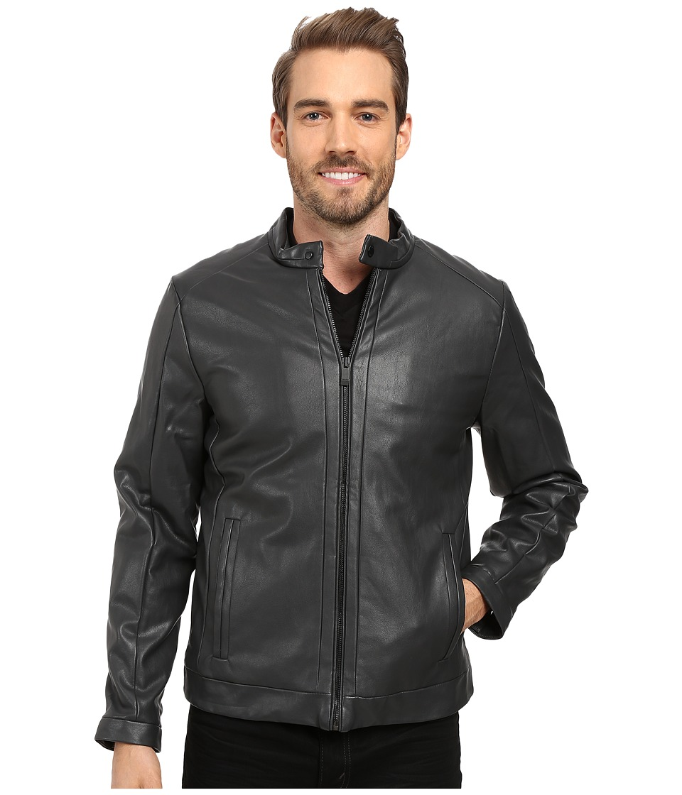 Calvin Klein - Faux Leather Jacket (True Grey) Men's Coat