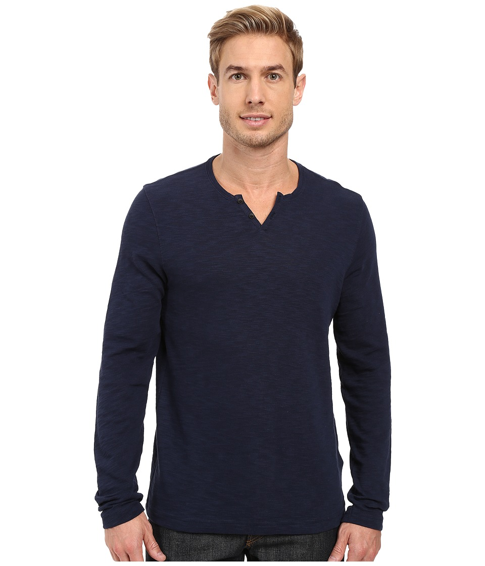 Kenneth Cole Sportswear - Long Sleeve Slub Henley (Indigo) Men's Long Sleeve Pullover