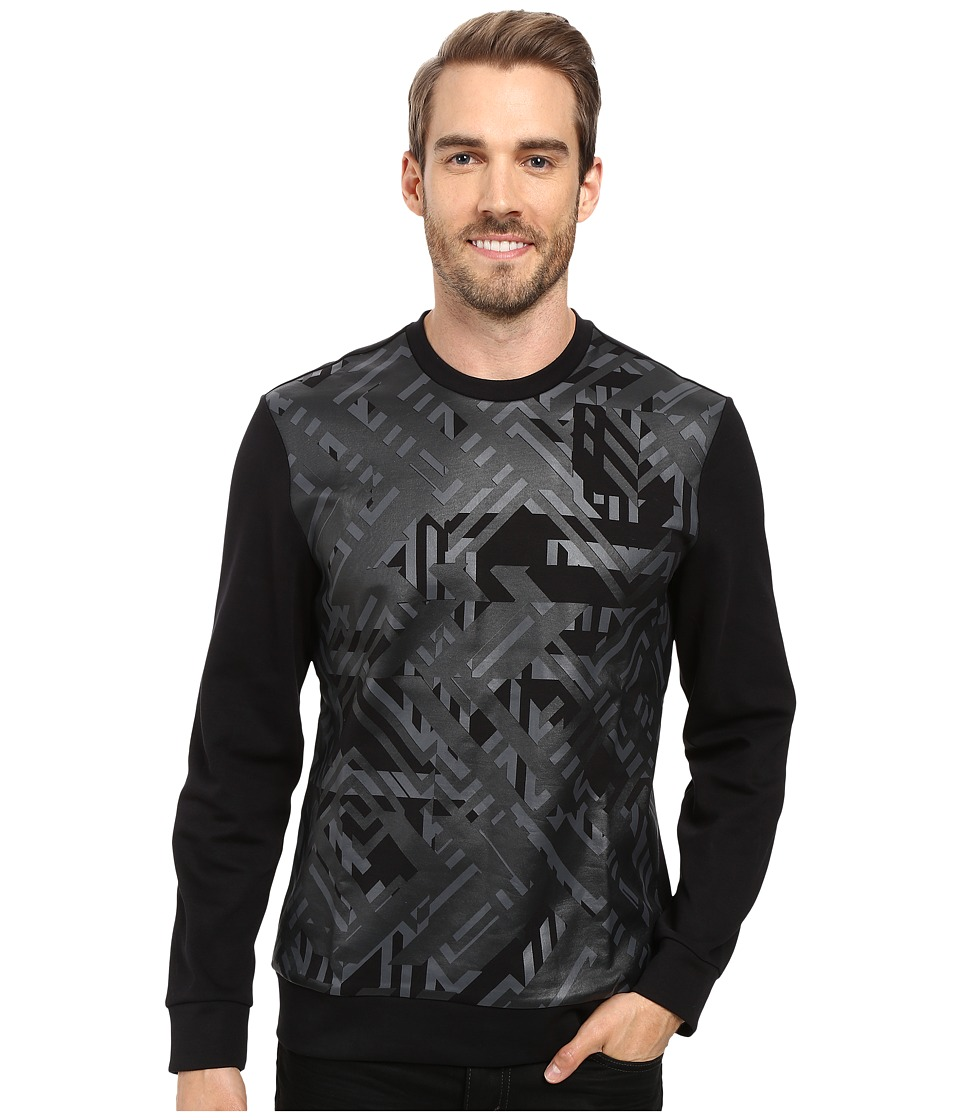 Calvin Klein - Long Sleeve Geo Camo Print Ponte Shirt (Black) Men's Long Sleeve Pullover