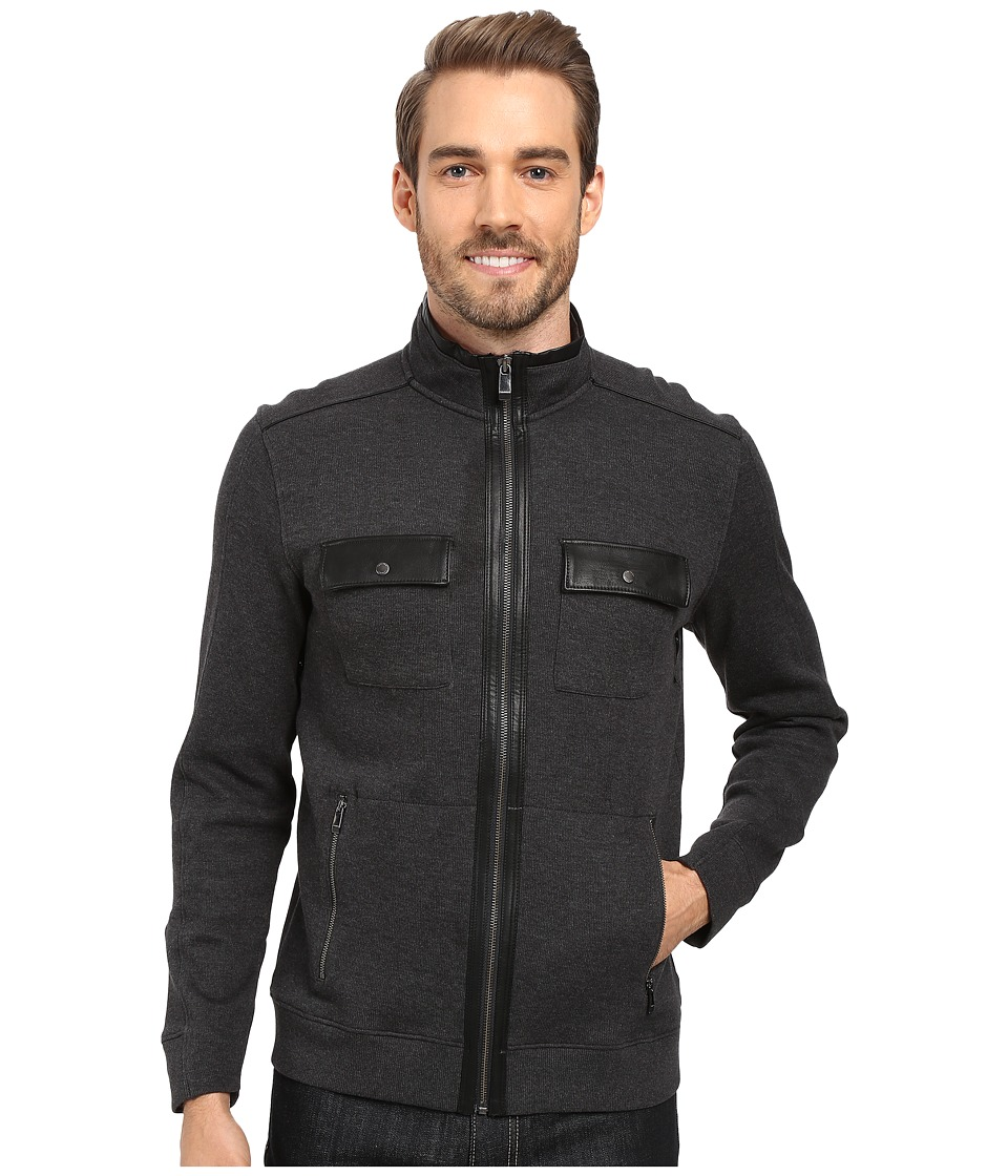 Calvin Klein - Long Sleeve Solid French Rib Four-Pocket Mock Shirt (Gunmetal Heather) Men's Long Sleeve Pullover