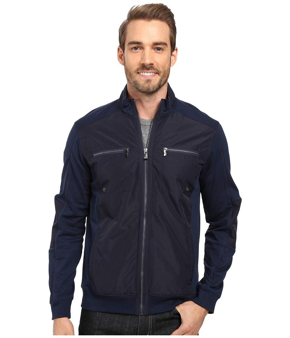Calvin Klein - Long Sleeve Fabric Blocked Sporty Terry Full-Zip (Dress Blue) Men's Sweatshirt
