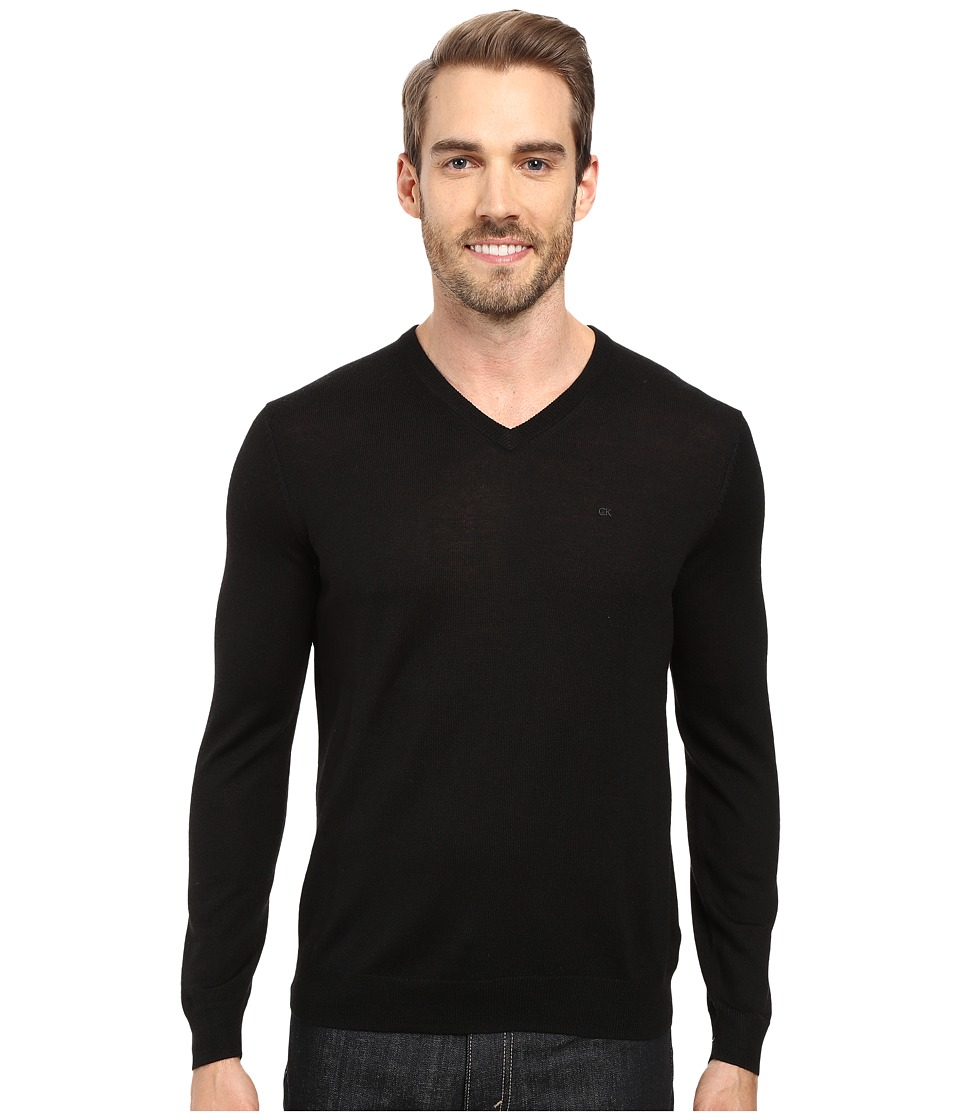 Calvin Klein Solid Merino V-Neck Sweater (Black) Men