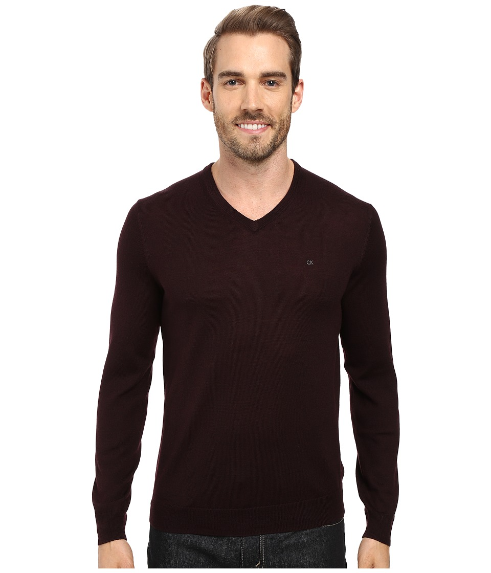 Calvin Klein Solid Merino V-Neck Sweater (Dark Chestnut) Men