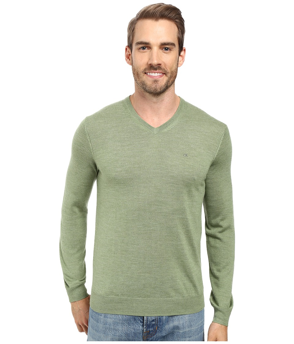 Calvin Klein - Solid Merino V-Neck Sweater (Italian Lime) Men's Sweater