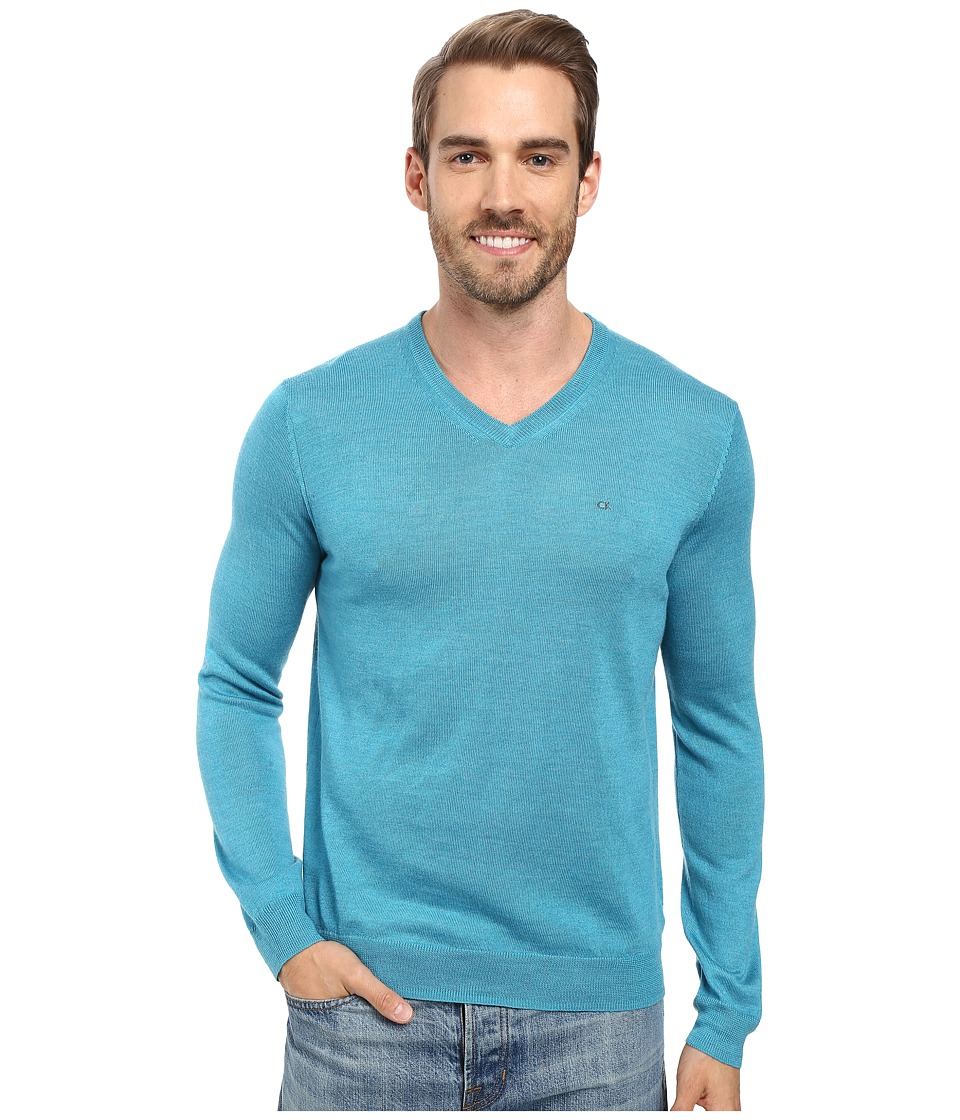 Calvin Klein - Solid Merino V-Neck Sweater (Island Water Heather) Men's Sweater