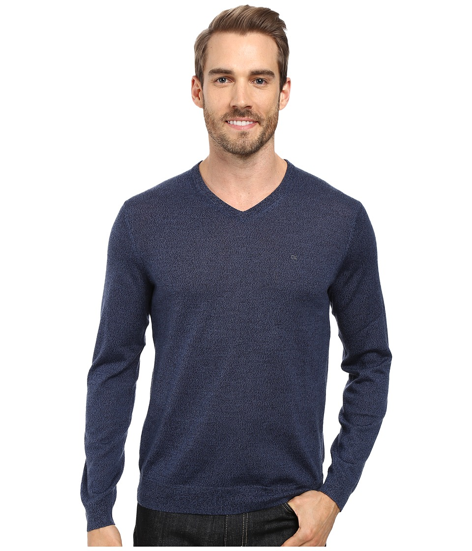 Calvin Klein - Solid Merino V-Neck Sweater (Indigo Mouline) Men's Sweater