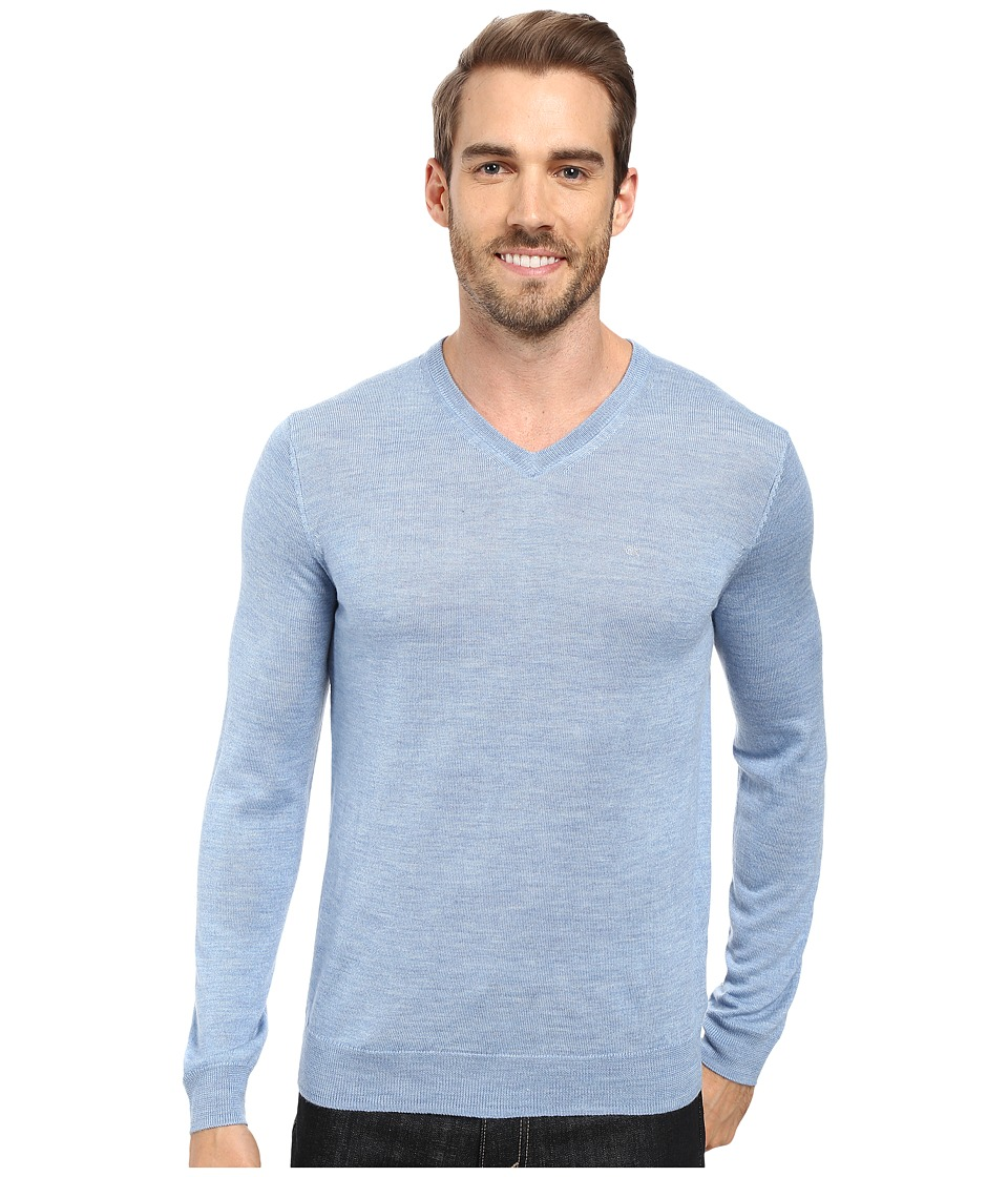 Calvin Klein - Solid Merino V-Neck Sweater (Blitz) Men's Sweater
