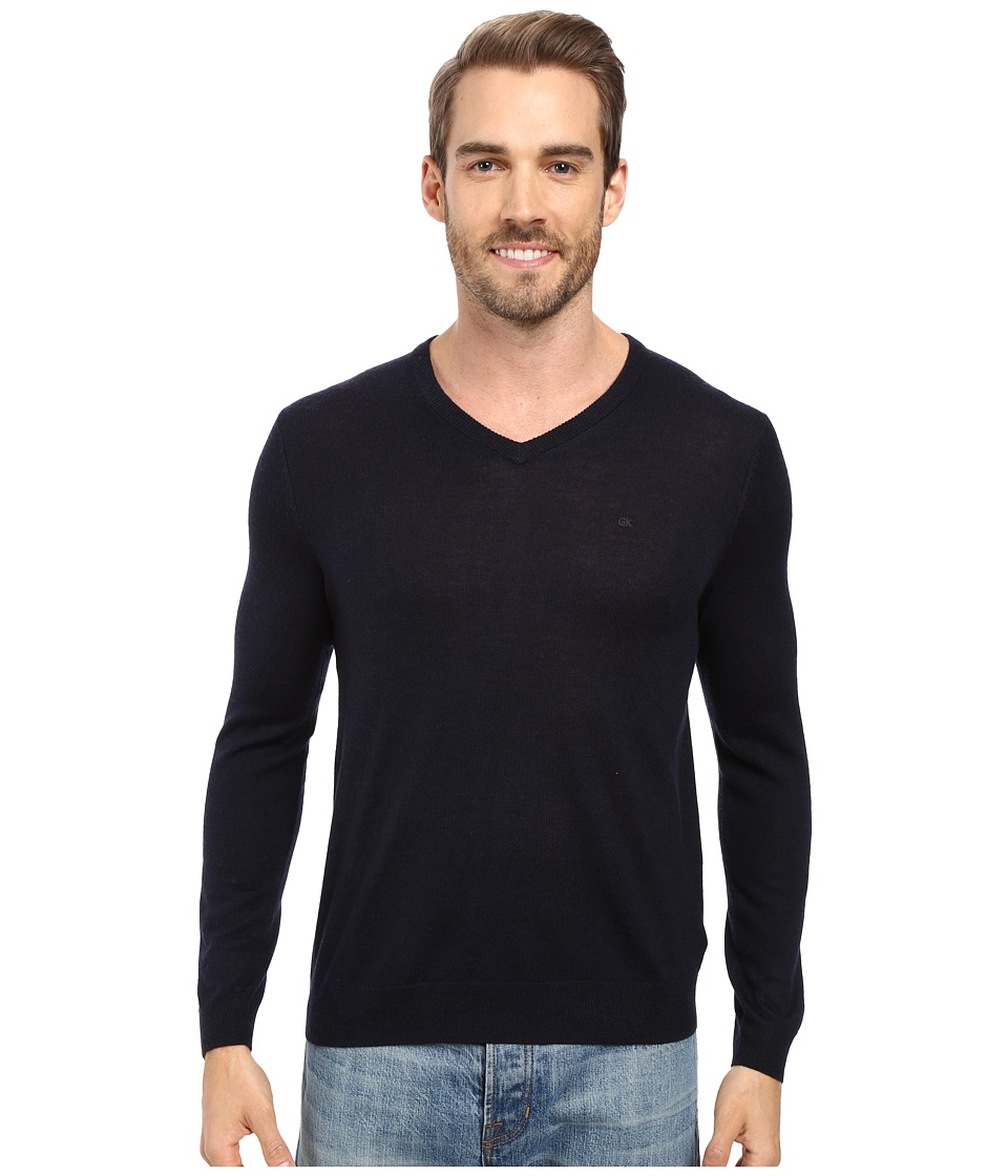 Calvin Klein Solid Merino V-Neck Sweater (Roma) Men