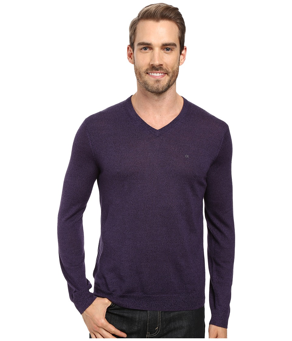 Calvin Klein - Solid Merino V-Neck Sweater (Black Amet Mouline) Men's Sweater