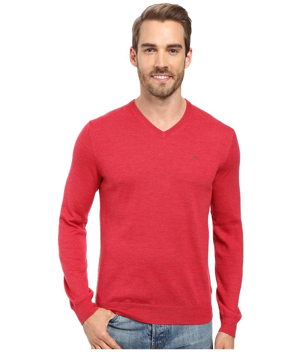 Calvin Klein - Solid Merino V-Neck Sweater (Foiano) Men's Sweater