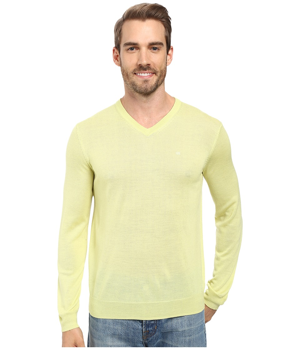 Calvin Klein - Solid Merino V-Neck Sweater (Sunny Lime) Men's Sweater