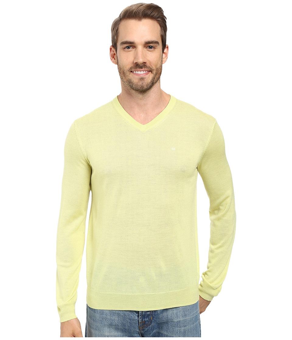 Calvin Klein Solid Merino V-Neck Sweater (Sunny Lime) Men