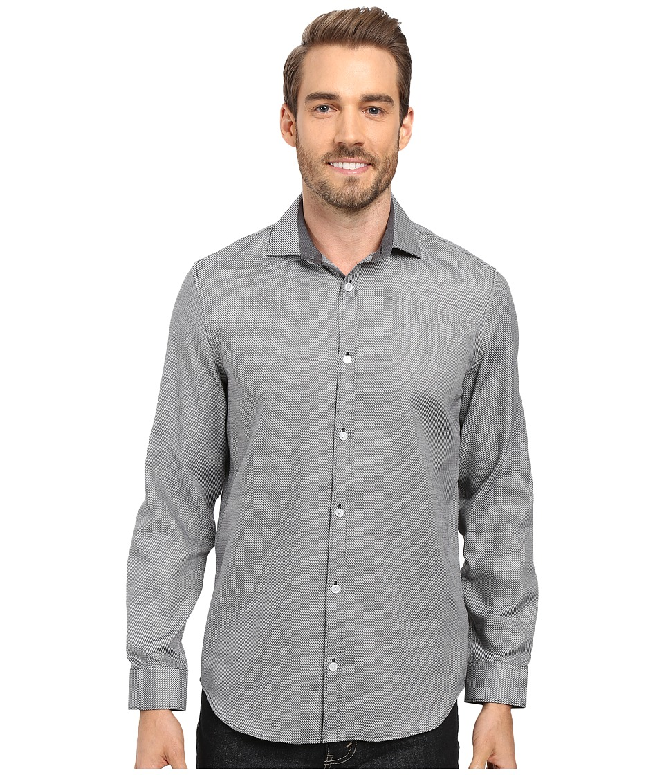 Calvin Klein - Long Sleeve Infinite Cool Dobby Twill Shirt (Black) Men's Long Sleeve Button Up