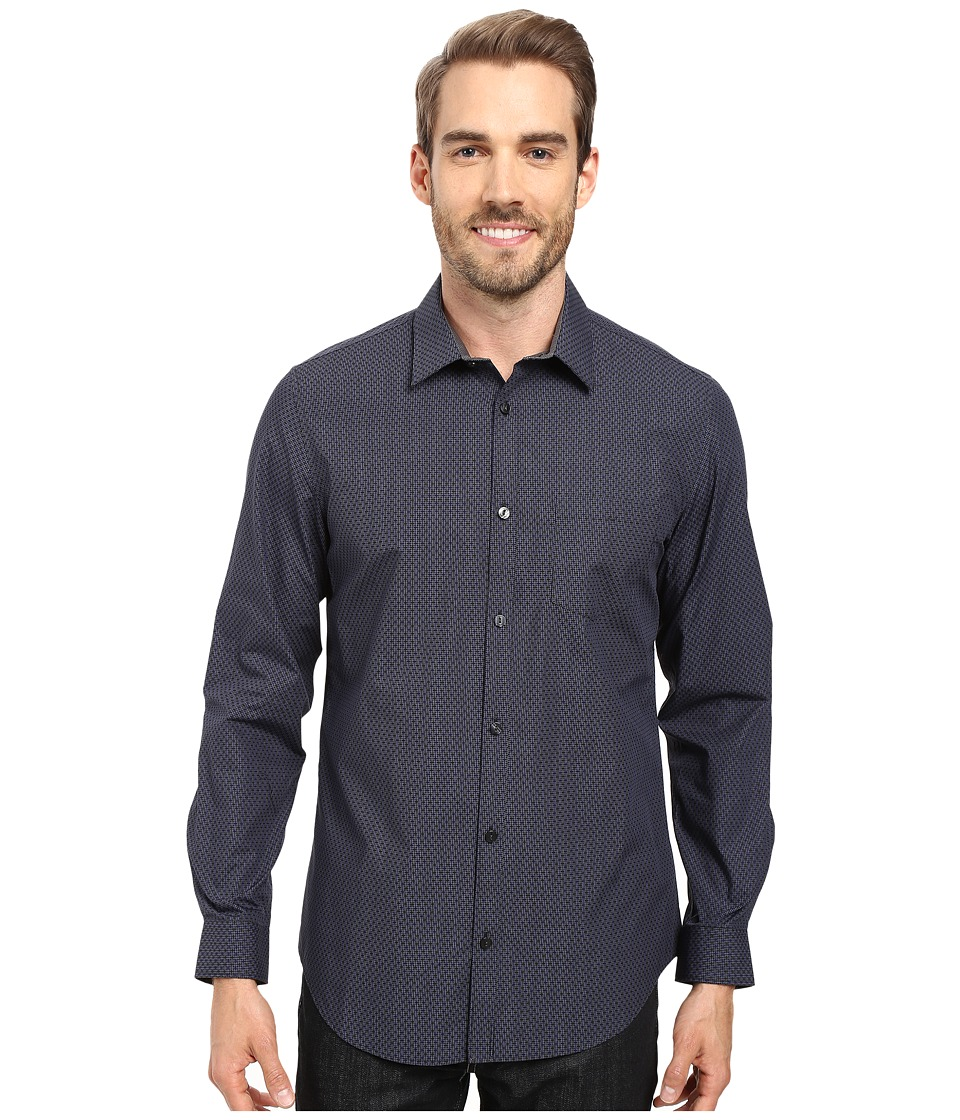 Calvin Klein - Long Sleeve Infinite Cool Square Cross Shirt (Black) Men's Long Sleeve Button Up