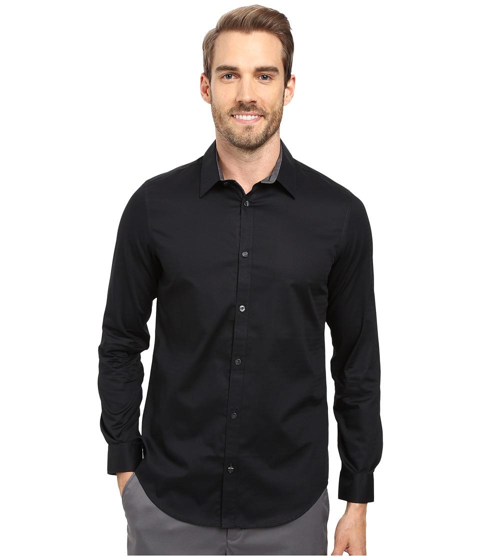 Calvin Klein - Long Sleeve Infinite Cool Chainlink Dobby Shirt (Black) Men's Long Sleeve Button Up