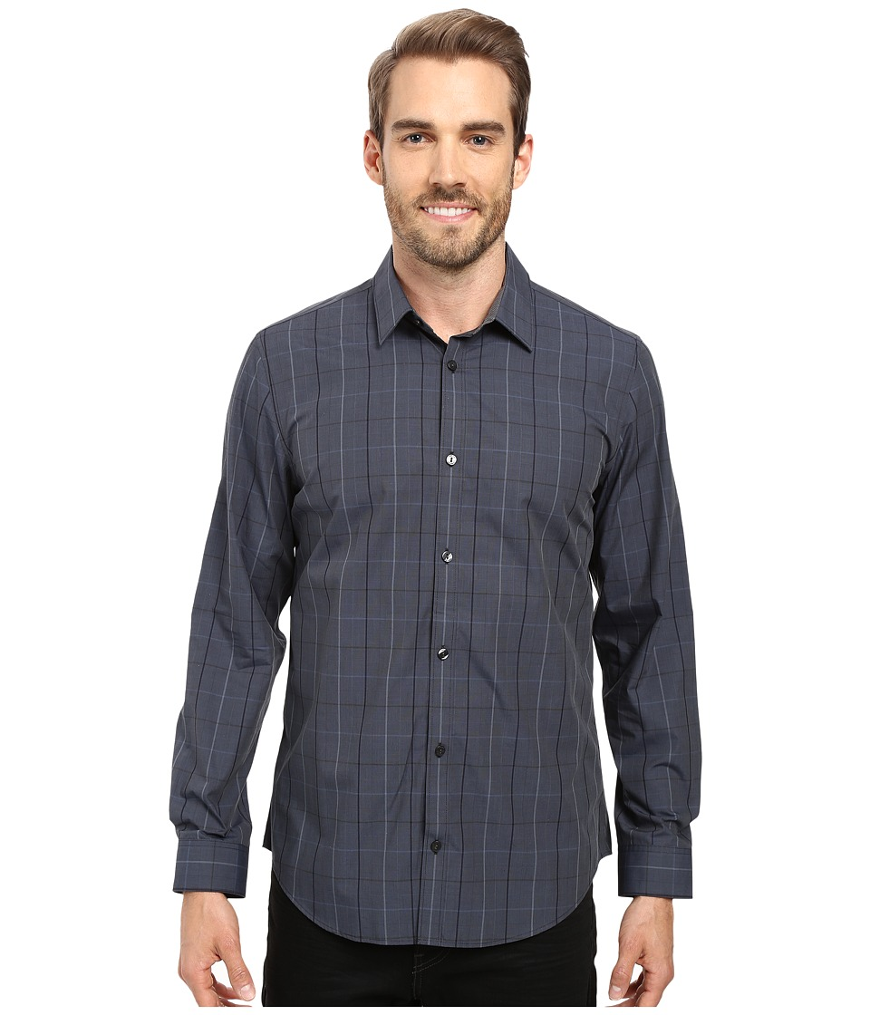 Calvin Klein - Long Sleeve Infinite Cool Large Window Plaid Shirt (Black) Men's Long Sleeve Button Up